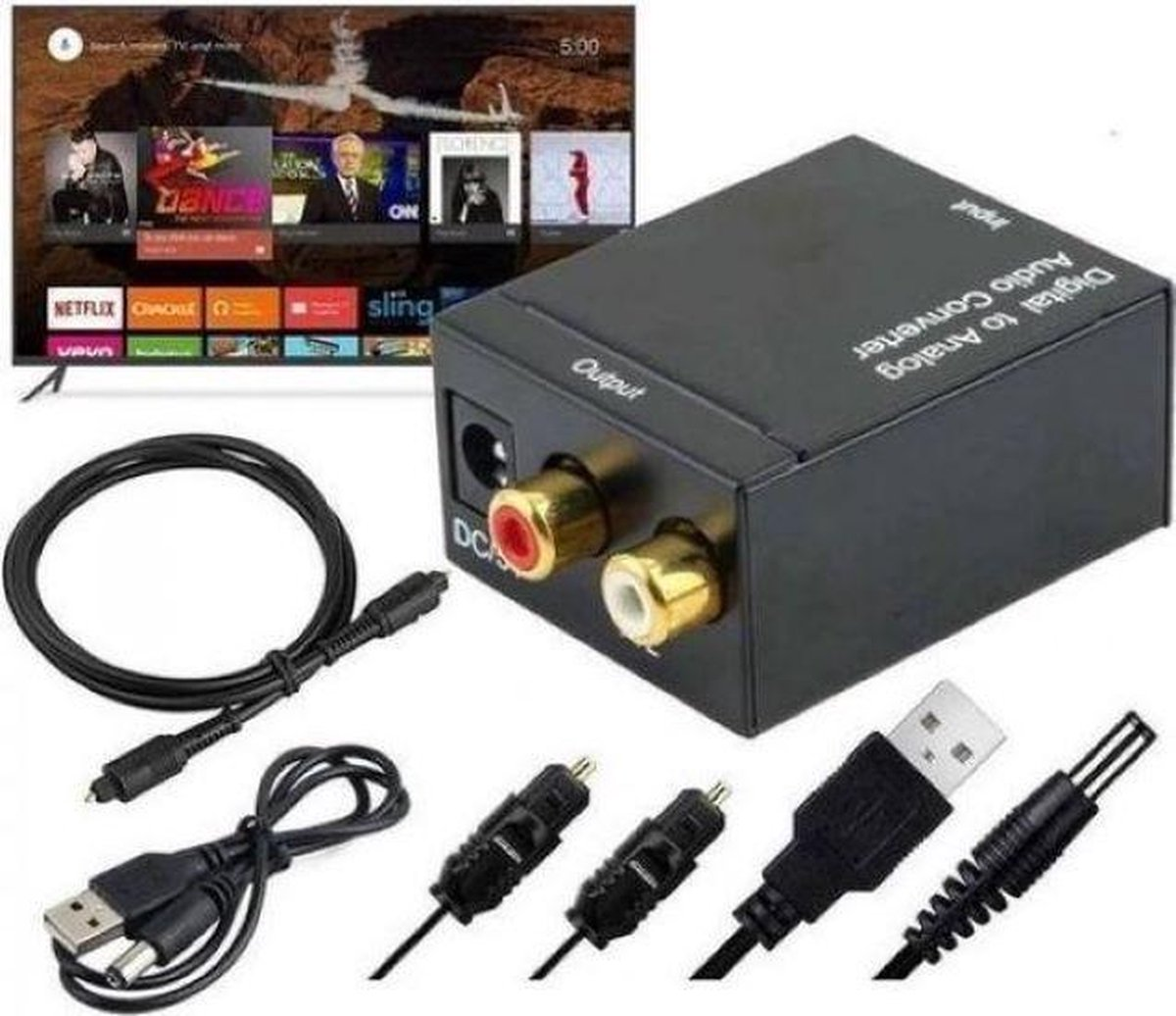 Digital Audio Converter (DAC) inclusief kabels   Digitaal Naar Analoog    Optical USB   Coaxiaal   DAC    Digitaal Toslink naar rood/wit