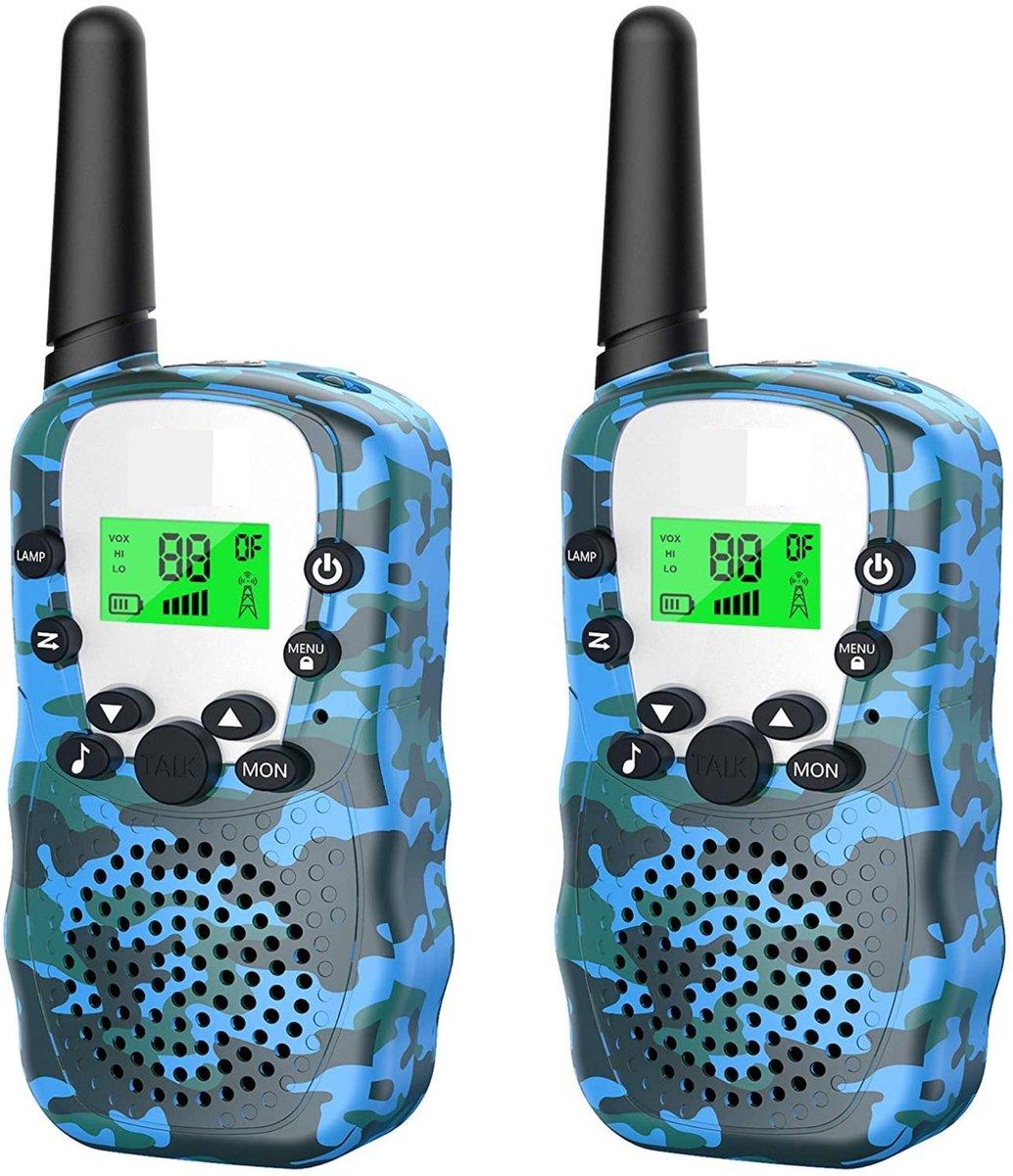 Walkie Talkie Voor Kinderen en Volwassenen - 3KM Bereik - Licht Functie - Portofoon - Indoor / Outdoor - Inclusief Batterijen - Blauw Camo