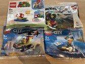Set van 4 verschillende Lego Polybags - Super Mario 30385 - Hidden Side 30464 - City 30566 -City 30567- Verjaardag - uitdeelcadeautje