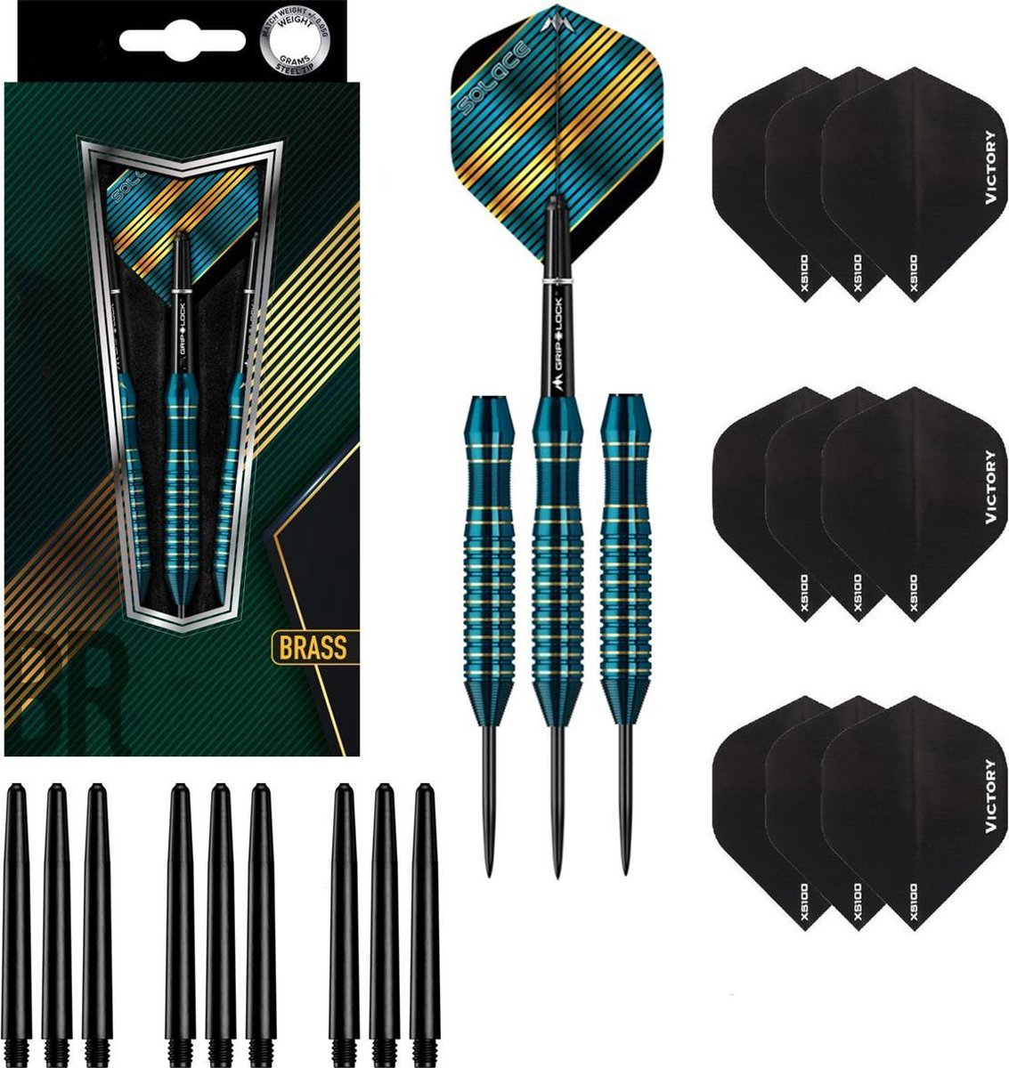 Dragon Darts Aqua Hawk - dartpijlen - dart shafts - dart flights - dartpijlen 24 gram - 100% brass