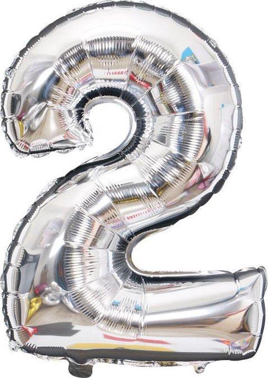 Ballonnen 2 jaar cijfer ballon Babydouche - zilver folie helium - 100cm - zilveren verjaardag versiering