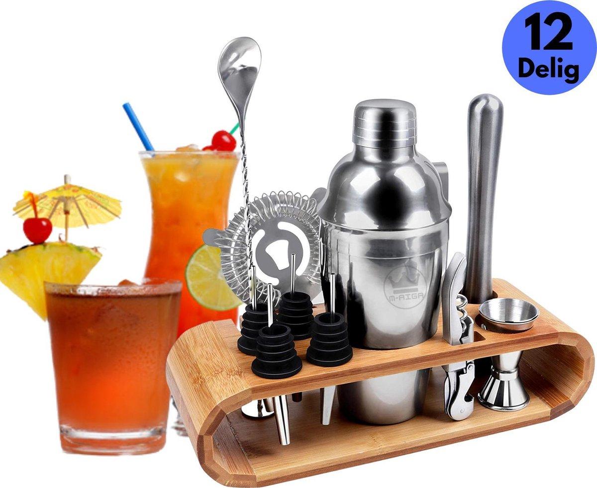 M-AIGA  - 12 Delige RVS Cocktail Shaker Set - Cocktail set - Cocktail - Inclusief Bamboehouder - Inc