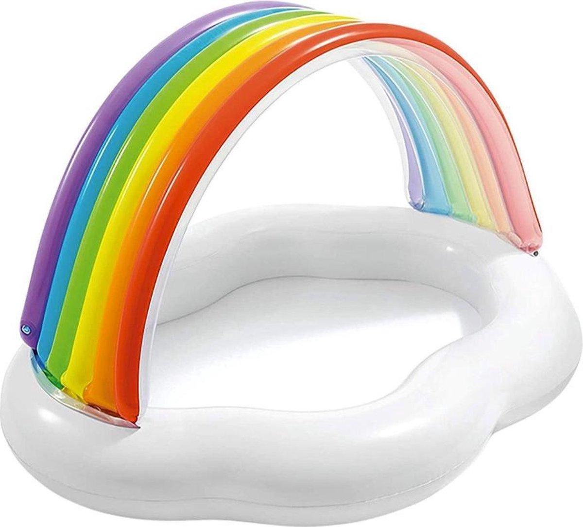 Intex Regenboog Opblaasbaar Kinder Zwembad - Baby Zwembad - Baby Zwembadje Met Afdak - 1-3 Jaar