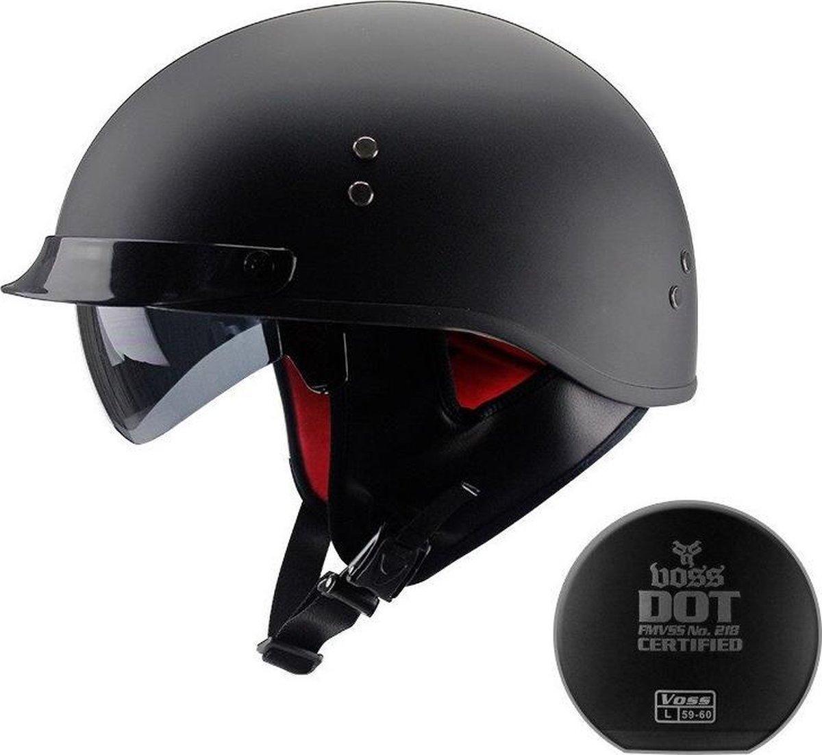 Vintage Motorhelm - Open Helm - Dot Goedgekeurd - Half Helm Retro - Zwart - Maat XL