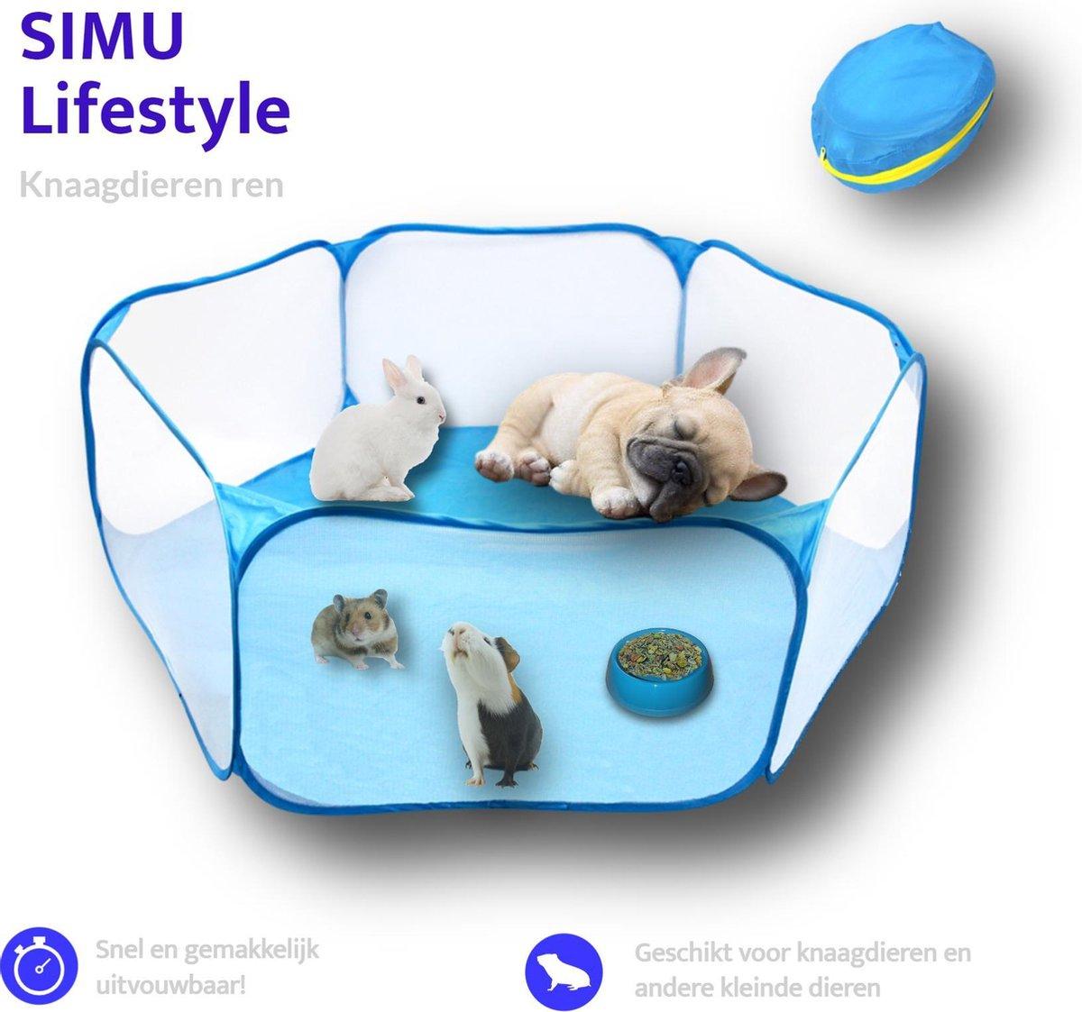 SIMU Lifestyle Opvouwbare Knaagdieren Ren - Cavia/Konijn/Hamster/Puppy/Kitten Kooi - Blauw - 120 cm