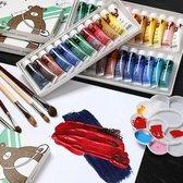 Textielverf schoenen - Aquarelverf - Verf kinderen - Kinderverf - Aquarelverf voor volwassenen - 12 kleurige set - Verfset - Verf voor kinderen - Verf voor beginners