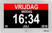 BBrain Basic - Dementieklok XL 10 inch wit - Kalenderklok met dag, datum en tijd - Alzheimer