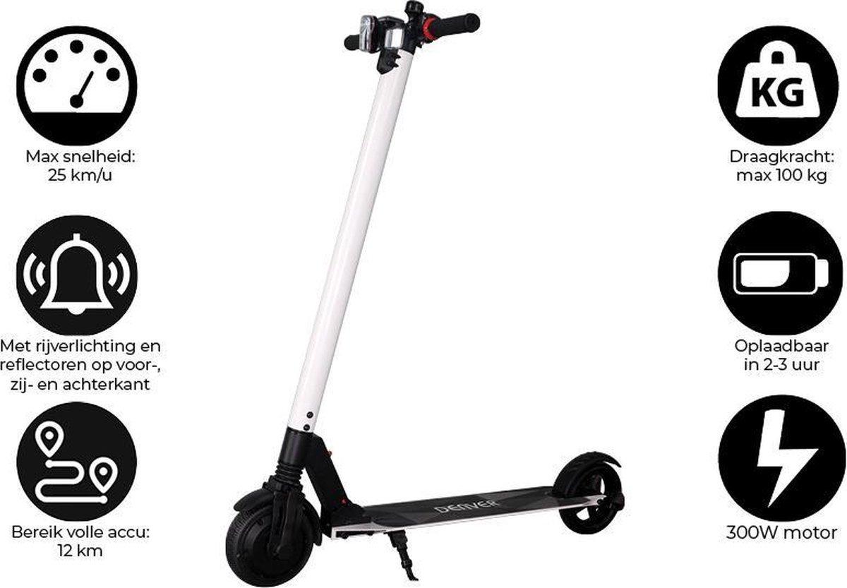 """Denver SEL-65220F - Elektrische step - 6.5"""" Banden - 25 km/u - E-Step met aluminium frame - Inklapbaar - Met LED verlichting voor & achter - E-Scooter - Wit"""