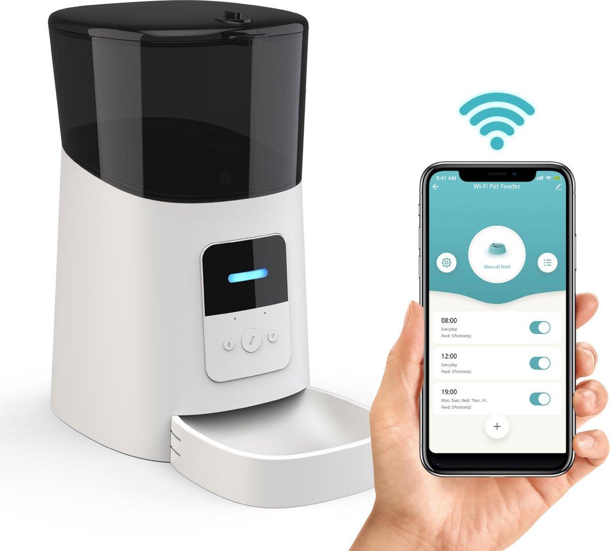 DKProducts Automatische Voerbak Wit - Voerautomaat Met App - Smartphone Besturing - Voerinhoud 6 Lit