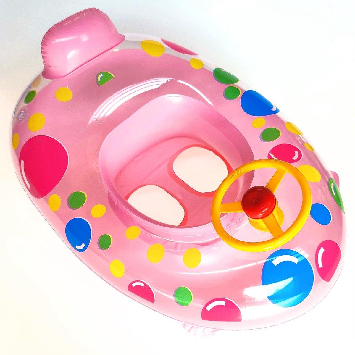 Jobber Playground Baby Zwemband Bootje - Baby Float - Rubber Boot - Incl. Toeter Stuur - 65CM - WILLEKEURIGE KLEUR