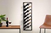 Modern Wijnrek - Zwart - Metaal - voor 8 flessen- Rechthoekig - 30 x 9,5 x 99,5 cm