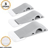 3 Easavida® Rubber Deurstoppers – 12x4x2.5 cm – Stapelbaar – Met Houder – Deurwig – Voor Binnen en Buiten – Grijs