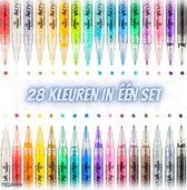 Afbeelding van Acryl Stiften - Acrylstiften voor stenen schilderen - Happy Stones - Stiften - Acrylverf Stiften - In 28 Kleuren Met Extra Fijne Punt