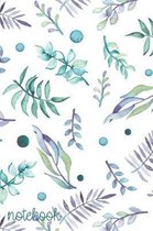 Notebook: Watercolor Inspired Teal Purple & Green Plant Design