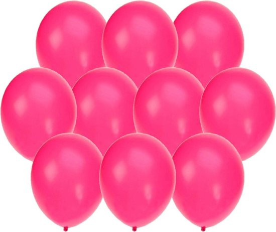30x stuks Neon roze party ballonnen 27 cm - Knalroze feestartikelen/versiering