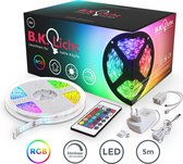 B.K. Licht - LED strip - 5 meter - RGB - met afstandsbediening - zelfklevend
