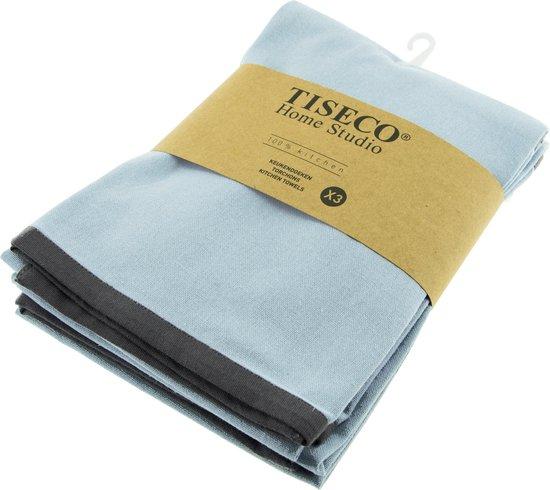 Tiseco Solid Theedoeken - Katoen - Set 3 Stuks - Blauw