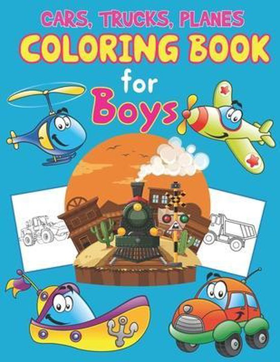 Trucks, Planes and Cars Coloring Book for Boys