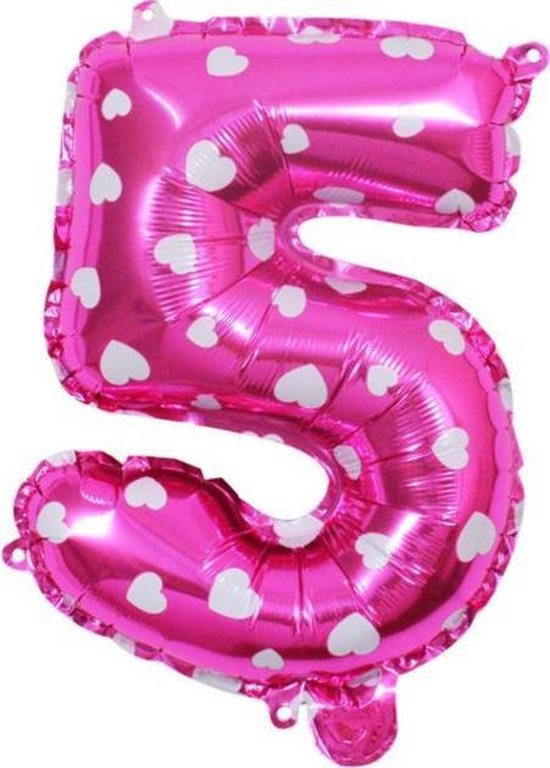 Folie Cijfer Ballon Groot | Roze | Cijfer 5 | ± 82 cm | Maak je feestje compleet met deze mooie Ballon!