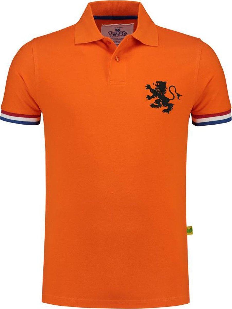 Polo shirt EK voetbal met Nederlandse vlag   Oranje Polo   EK Polo   Unisex Polo met zwarte bedrukki