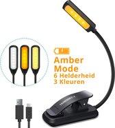 Leeslampje voor boek - USB oplaadbaar leeslampje met 9 oogverzorging helderheid modi - Flexibele Clip op Boek Licht voor het lezen in bed, Kindle, Tablet, Muziektribune, Reizen