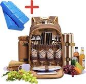 Picknickrugzak voor 4 personen inclusief inhoud en 2 koelelementen - rugzak ideaal voor de Picknick - picknickmand - kerstpakket - Verjaardag - Sinterklaas - kerstmis - Bruin