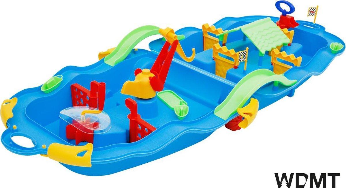 Waterbaan in trolley van WDMT™   22,5 x 53 x 65 cm   Eenvoudig mee te nemen waterbaan   Opvouwbare waterbaan op wielen   Blauw