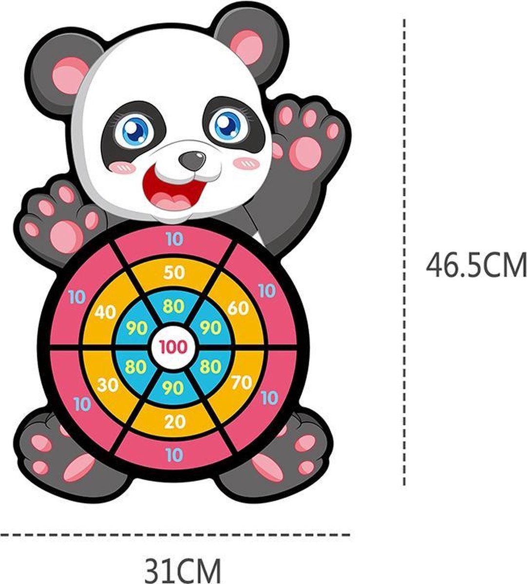 Toi-Toys dartspel met ballen panda 46 cm