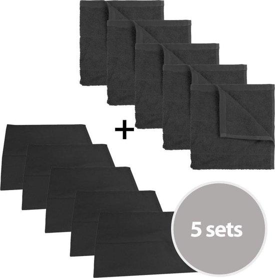 The One Keuken set - 5 sets - 5 x theedoek (50 x 70 cm) & 5 x keukendoek 50 x 50 cm - Antraciet