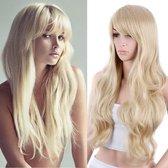 Pro-Care Ombre Licht Blond Golf Kleur Pruik Dames - 75cm Golvend Haar - Wig - Verstelbaar - Vederlicht 290g