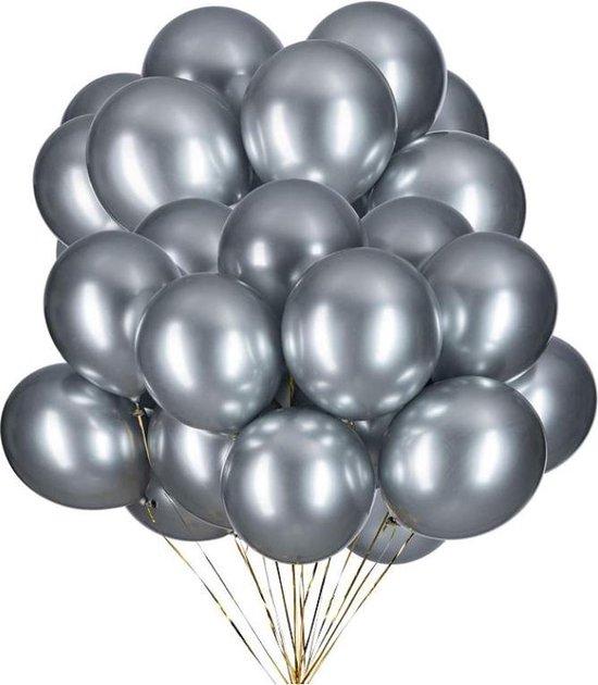20 Metallic Ballonnen - Zilver - 30 cm - Latex - Chroom - Verjaardag - Feest/Party - Ballonnen set -