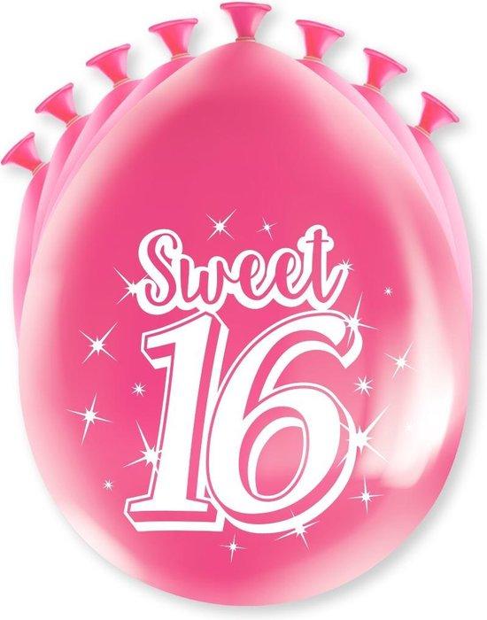 Sweet 16 Ballonnen 16 Jaar Roze 30cm 8st
