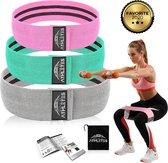 Tested by Athletes© - Weerstandsbanden set van 3 + E-Book - Hard Resistance - Resistance Bands - Fitnessbands - Weerstandsband