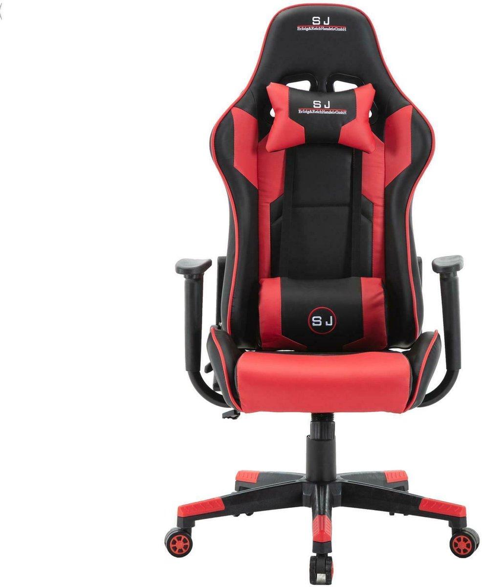 Gamestoel - Bureaustoel - Verstelbare rugleuning - Nek & Rug kussens - Gamingstoel - Rood Zwart