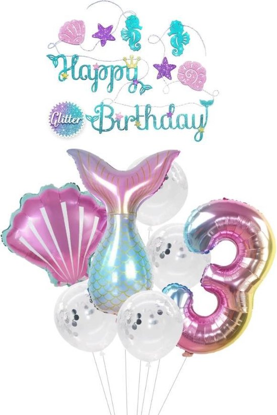 Zeemeermin ballon - 3 jaar - Kinderfeestje - Drie jaar - Verjaardagfeest - ballonnen pakket - Kinderfeestje pakket - Zeemeermin ballonnen pakket