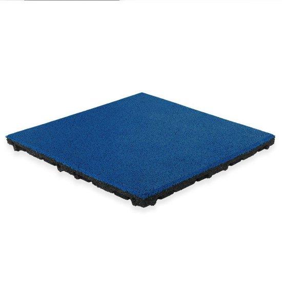 Rubber tegel met EPDM toplaag - 50 x 50 cm - 45 mm - Donker blauw (RAL 5002)