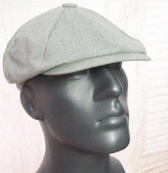 Oversized katoenen flatcap zomerpet Peaky Blinders style kleur grijs maat L/XL