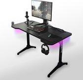 Vonyx DB20 Gaming bureau - LED verlichting - anti slip - kraslaag - 120cm breed - Zwart