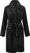 Unisex badjas fleece - sjaalkraag - zwart - badjas heren - badjas dames - maat L/XL