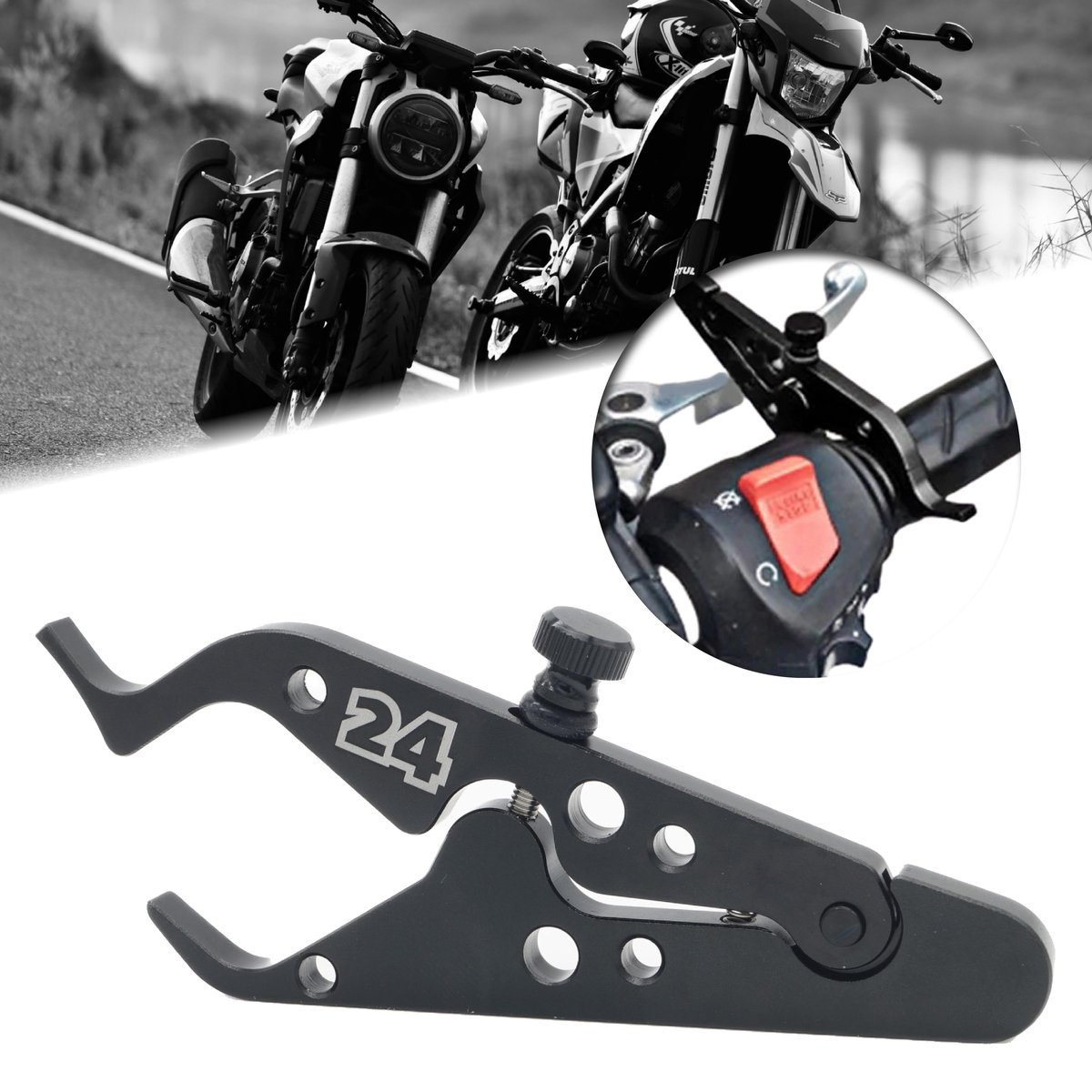 Motor24  - Motorfiets cruisecontrol zwart - motor brommer scooter cruise control - sterk aluminium -