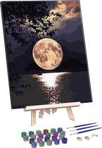 Rubye® Schilderen Op Nummer Volwassenen – Volle Maan – Met Frame en Schildersezel – 40x50cm