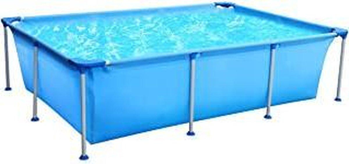|zwembad|tuin bad|Vierkant opstelzwembad, zomer zwembad met metalen frame 258 x 179 x 66 cm - blauw