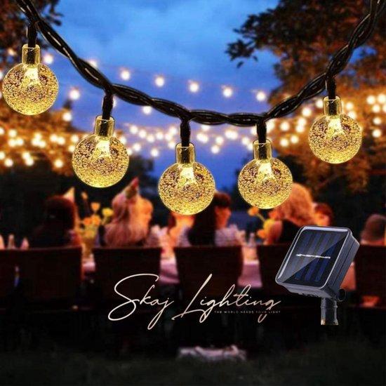 SKAJ Tuinverlichting op zonne-energie - 8 Lichtstanden - 50 LED's - 7m - ø 2,5cm - Warm White