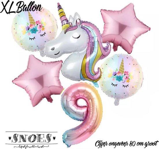 * Snoes * Unicorn * Eenhoorn Licht Roze* Set van 6 Ballonnen XL * Unicorn Nummer 9 * Negende verjaardag * Hoera 9 Jaar * Birthday