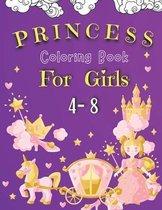 Princess Coloring Book For Girls 4-8