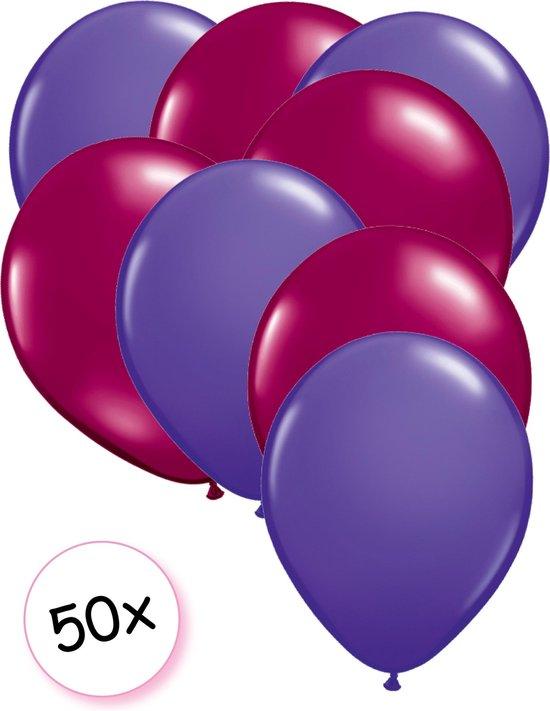 Ballonnen Paars & Fuchsia 50 stuks 27 cm