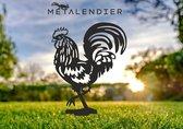 -metalen haan - zwart gepoedercoat - metalen kippen - tuinbeeld - tuinsteker