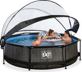 EXIT Zwembad Frame Pool Black Wood Limited Edition 300 x 76 met Filterpomp en Overkapping