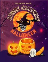 Skulls Cemetery: Adult Halloween Coloring Book