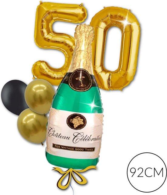 Folie Cijfer Ballon Goud 50 jaar Champagne voor Abraham, 50 jaar Huwelijk, Jubileum   Geschikt voor Helium
